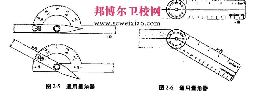 关节活动度的测量工具 常用的关节活动度的测量用具有量角器、方盘堡角器(图2刀)、尺。量角器有180°、360°和指关节量角器之分.以180°通用量角器为最常用(图2—5、图2—6)。量角器通常有两臂,分别称为固定臂和移动臂,二者巾一轴心连接。 (本文由邦博尔卫校网www.